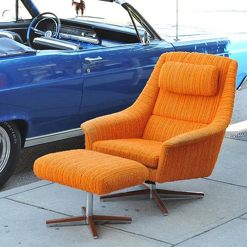 Vtg MCM Orange Wool Swivel Lounge Chair Set Made in Norway by LK Hjelle