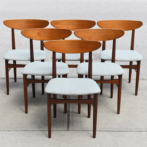 Set of 6 Mid Century Danish Modern Teak Dining Chairs