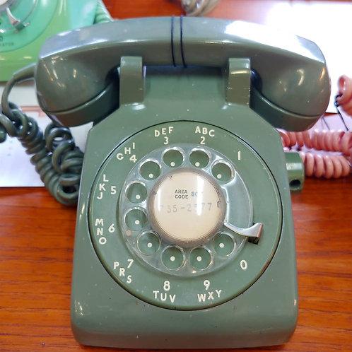 Green vintage rotary phone