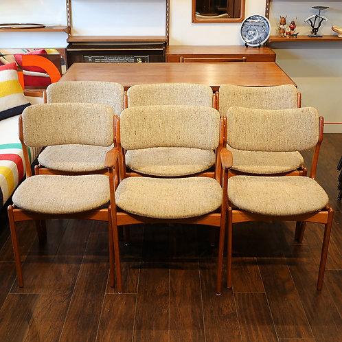 Set of 6, Danish Modern Teak Dining Chairs by Erik Buck