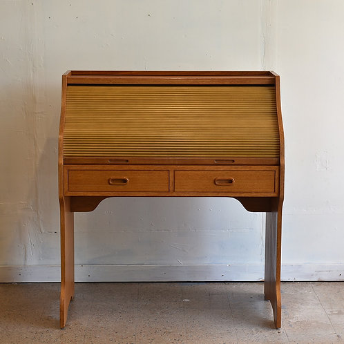 Vintage Modern Teak Roll Top Desk