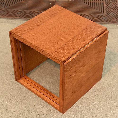 Danish Teak Cube Nesting Tables by Kai Kristiansen for Vildbjerg Møbelfabrik