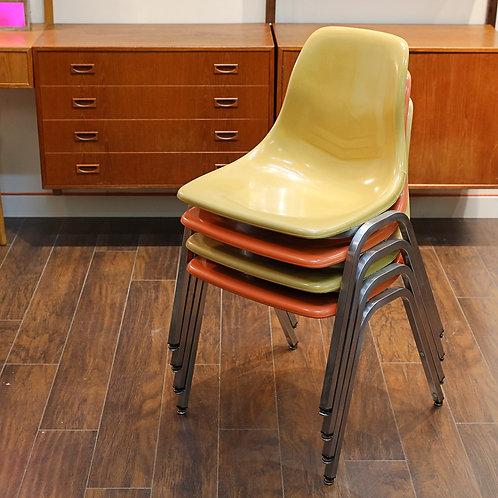 Set of 4 Vintage Fiberglass Stackable Chairs