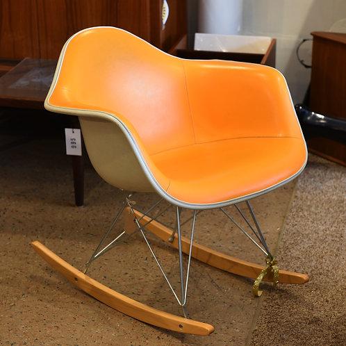 Vintage Original Eames Orange AlexanderGirard Fiberglass Armshell Rocking Chair