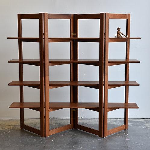 Unique vintage teak  folding book shelving unit.