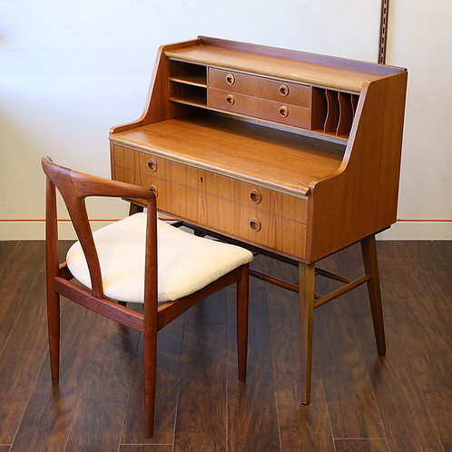 Vintage Swedish Teak Writing Desk + Teak chair