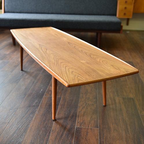 Sleek Danish Modern Teak Surfboard Coffee Table by Kristensen & Thomassen