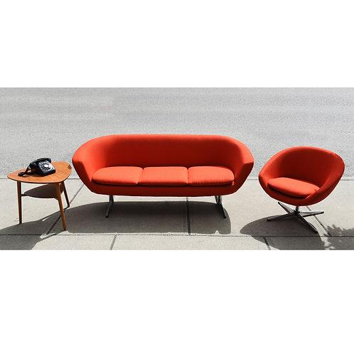 Vintage MCM Overman 3 Seat Sofa & Easy Chair Set