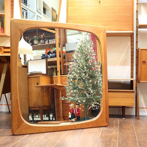 Danish Modern Square Teak Mirror by Fakse Furniture