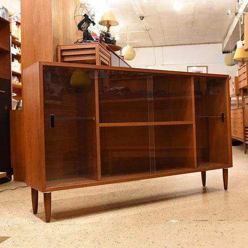 Vintage Low Profile Teak Sliding Glass Door Cabinet