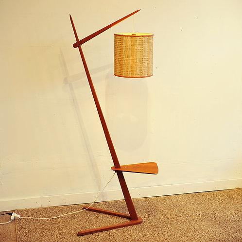 Vtg MCM Teak Z Shape Floor Lamp