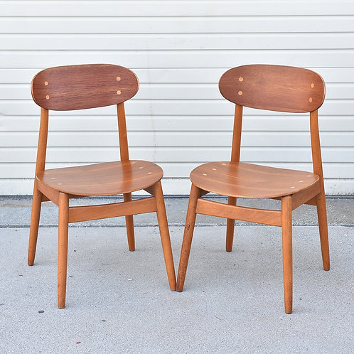 Pair of Swedish Modern Teak & Beech Dining Chairs