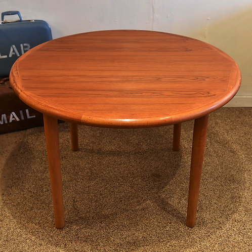 Vintage Modern Teak Round Dining Table with a Butterfly Leaf
