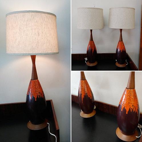 Pair mcm lamps pair, West German Pottery