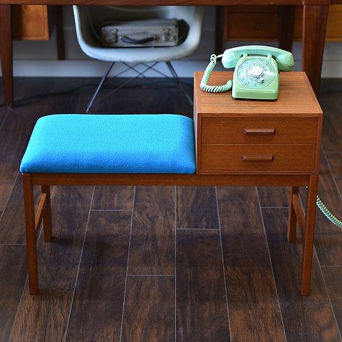 Gossip bench, teak, refinished, reupholstered