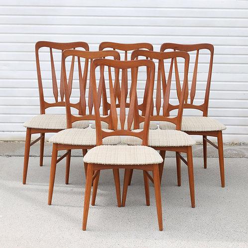 Niels Koefoed for Koefoeds Hornslet Danish Modern Teak Dining Chairs, Set of Six