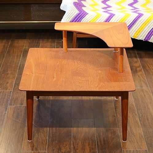 Vintage Solid Teak 2-Tier Corner Table