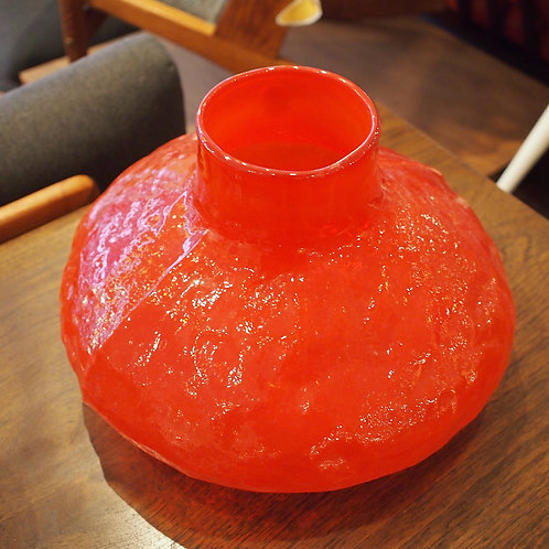 Vintage Fire-Red Glass Vase