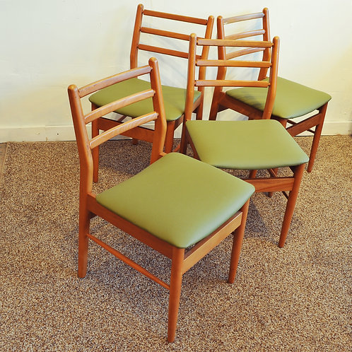 Set of 4 Vintage Ladder Back Green Dining Chairs