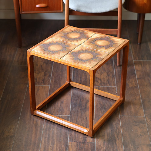 15%OFF, Danish Modern Teak Cube Tile Top Square Side Table