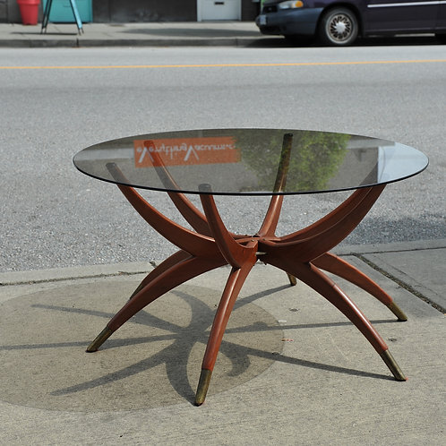 Vintage MCM Spider Legs Coffee Table with Smoked Glass Top