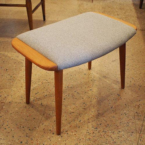 Danish Mid Century Modern Teak Stool with Grey Tweed upholstery
