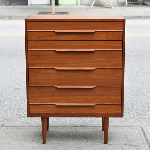 Danish Modern Teak Tallboy Dresser