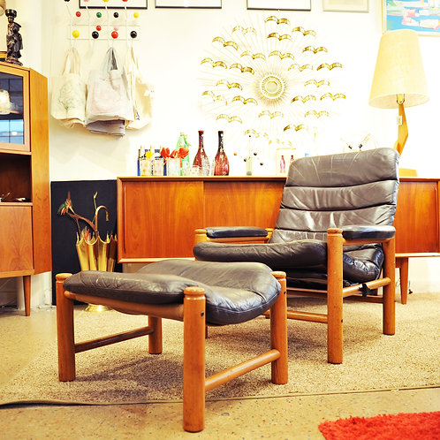 Vtg Teak Recliner Lounge Chair