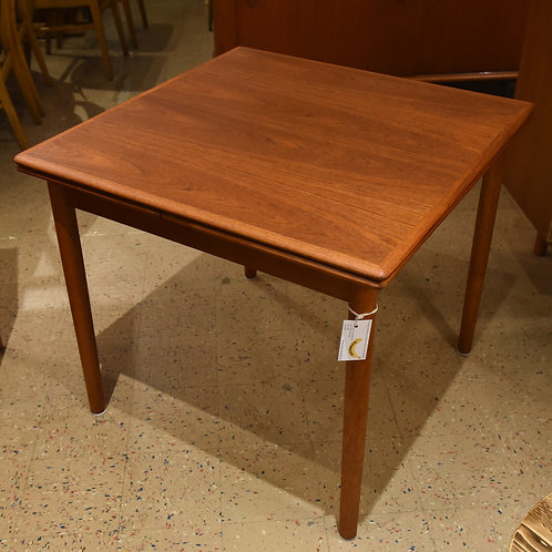 Danish Mid-Century Modern Teak Square Dining Table with 2 Leaves