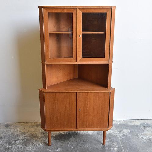 Unique Danish Corner Standing Cabinet