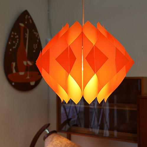 Vintage MCM Orange Plastic Pendant Lamp