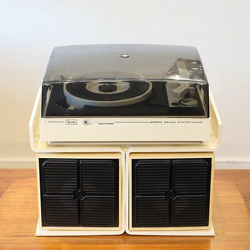 Compact Vintage Sears Turntable and Speakers Set