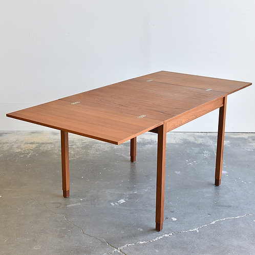 Refinished, Danish MCM Teak Square Card Table with 2 leaves