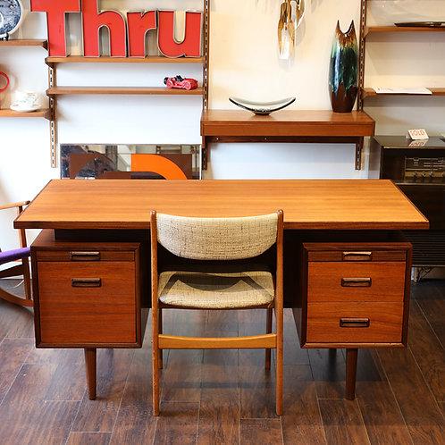 Vintage Teak & Afrormosia Executive Desk by R.S Associates, Canada