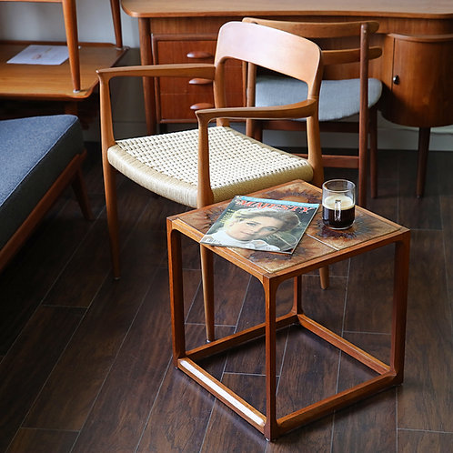 15%OFF, Danish Modern Teak Cube Tile Top Square Side Table