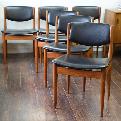 Set of 4 Danish Teak Model 197 Dining Chairs by Finn Juhl for France & Son