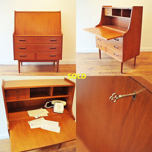 Vintage Mid Century Danish Modern Secretary / Writing Desk
