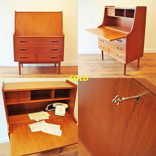 Vintage Mid Century Danish Modern Secretary / Writing Desk
