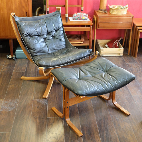 Vintage Falcon Chair with Foot Stool
