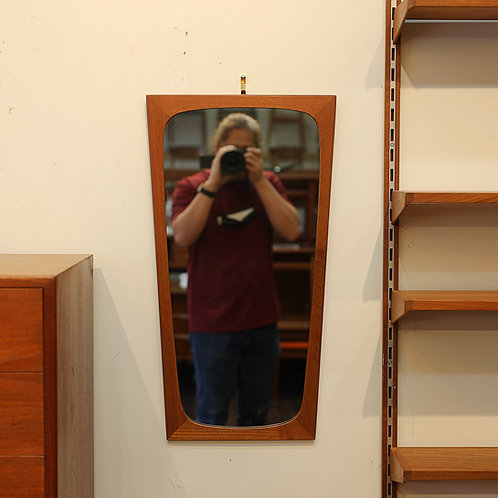 Vintage MCM Teak Isosceles Trapezoid Shape Mirror