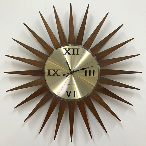 Seth Thomas vintage teak+brass wall clock