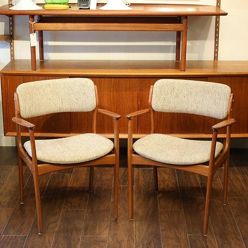 Pair of Danish Modern Teak Arm Chairs by Erik Buch
