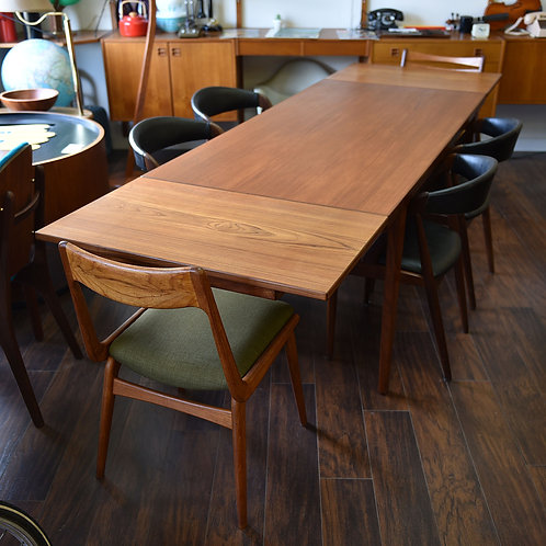 Danish Teak Dining Table with 2 Hidden Leaves