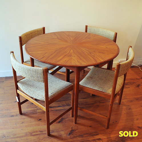 Vtg MCM Teak Starburst Dining Table with Chairs