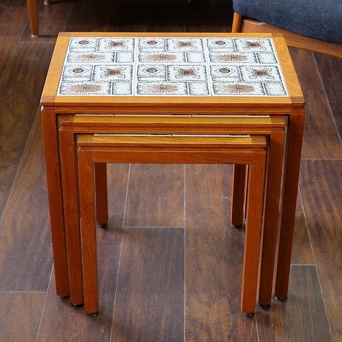 Danish Modern Teak Tile Top Nesting Tables