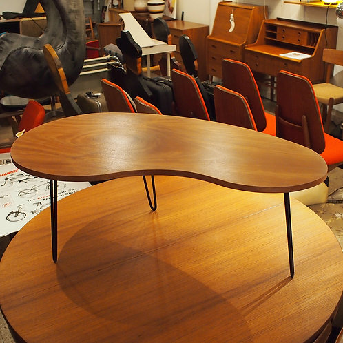 African Mahogany Kidney Shape Coffee Table with Hairpin Legs