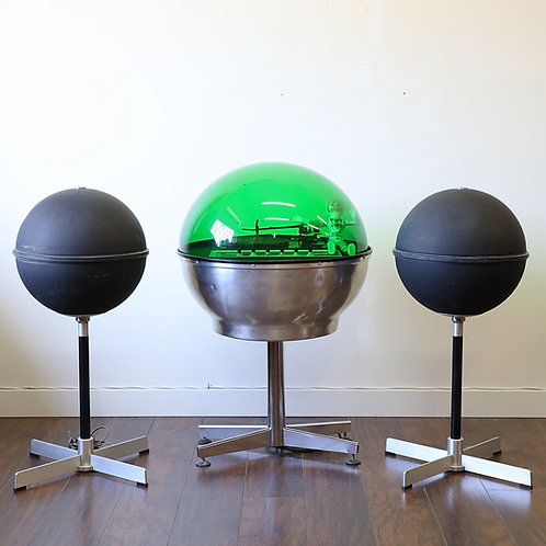 Vintage MCM Atomic Green Dome Stereo with JVC Sphere Speakers