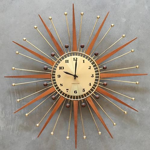 Mid Century Teak Starburst Wall Clock