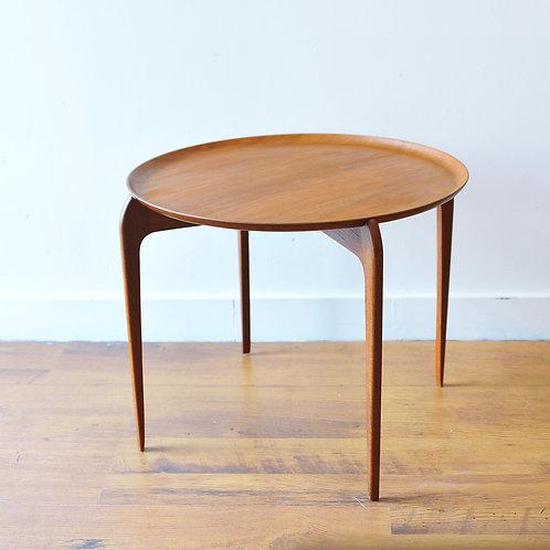 Style of Fritz Hansen Teak Round Tray Side Table