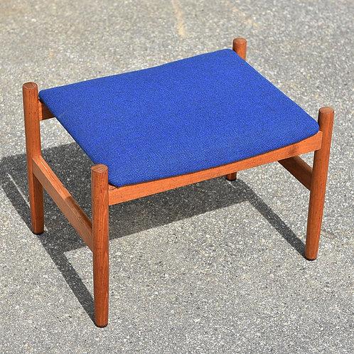 Danish teak foot stool in new Kvadrat fabric and new foam